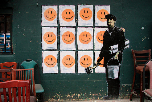 banksy happy faces new york