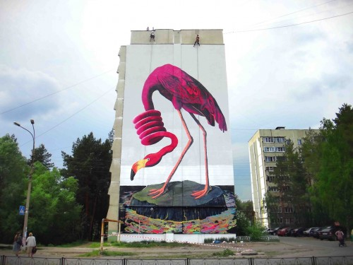 Russia's Zukclub makes a statement about pollution and sustainability, with a flamingo surrounded by a sea of oil.